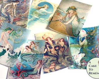 12 Mermaids wafer paper cookie images, vintage mermaid party edible wafer paper prints for cookie decorating. Printed wafer paper