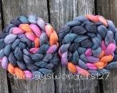 Merino/Tencel Roving, Hand Dyed Roving, Hand Painted Roving, Wool Roving, Spinning Fiber