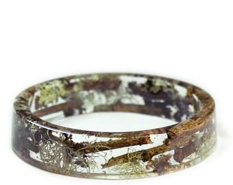 Tree Branches Bracelet -Green Bracelet- Real Moss Bracelet- Flower Jewelry- Resin Jewelry- Flower Bangle- Flower Bracelet