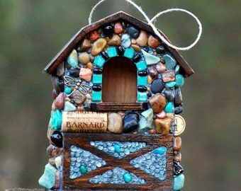 Unique Birdhouse Mosaic Garden with Stones up-cycled natural birdhouse bird lovers outdoor decor teal dragonfly mosaic birdhouse with corks