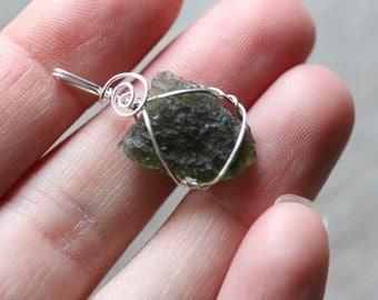 Moldavite Sterling Silver Pendant 1.9 gram #7541