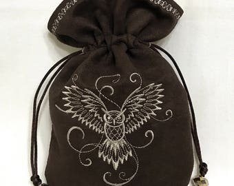 FLYING OWL - Embroidered Drawstring Dice Bag, Rune Pouch, Tarot Card Bag made of faux suede - LARP Costume Accessory