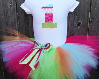 Multicolored First Birthday Tutu Outfit and Headband | Pink, Green, Orange, and Blue Number or Initial | Birthday Photo Prop, Party Dress