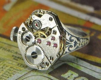 Women's STEAMPUNK Ring - Torch SOLDERED - Vintage Silver CENTRAL Watch Movement w Original Crown - Birthday, Anniversary Gift - Fine Design