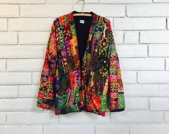 90's SLOUCHY PATCHWORK JACKET vintage bright ethnic boho festival jacket M