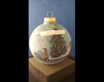 Hand painted glass ornament, Baby's First Christmas