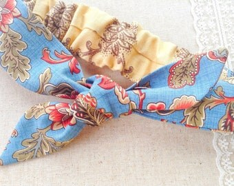 Hairband, child, adult, retro tie headband, unique gift for vegan 100% cotton, blue floral knot headband, elasticated tie hairband