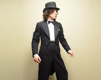 mens vintage tuxedo vintage 30s tailcoat tux 1930 formal menswear top hat tails 37 37R hollywood waist pant