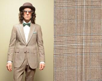 mens vintage suit plaid wool suit Hart Schaffner Marx HSM Escadrille 38 38R slimfit nuetral suit fall autumn suit Lucky 7