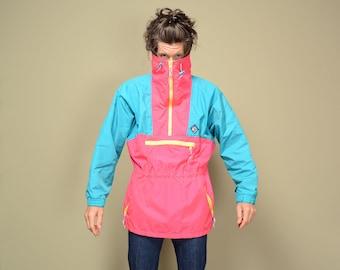vintage 80s 90s neon windbreaker Woolrich Woman ski jacket pink yellow Sigmet Gear ski parka 1980 1990 100% nylon women M