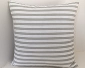 Gray White Striped Pillow Cover // Cottage Pillow Cover // Nautical Pillow