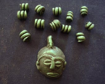 Set of Metallic Forest Green Polymer Clay: Pendant Mask and 12 spiral beads