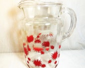 Vintage, Federal Glassware, Water Pitcher, Fireworks Pattern, 1950s