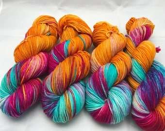 Free US Shipping, Trevor Morgan DK, Hand Dyed Yarn, DK weight, Superwash Merino, Number 3, 8 ply, Hand dyed, 100g, Summer Beverage