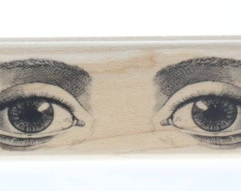 Hampton Art Sketched Eyes Windows to the Soul Wooden Rubber Stamp