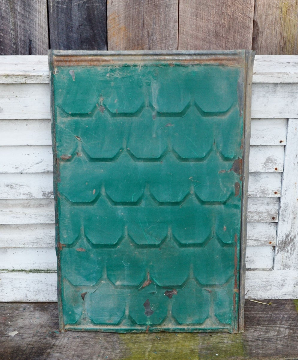 Large Vintage Metal Roof Shingle Embossed Painted Scalloped