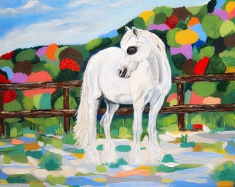horse painting, white horse, impressionist art, abstract landscape, colorful art, canvas art, acrylic painting, original art, home decor