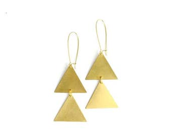 30% OFF EASTER SALE Vintage inspired brass bohemian large double triangle earrings: upward facing
