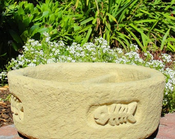 CAT BOWL Solid Stone Outdoor Pet Dish w/ Divider. Holds Food & Water or Succulents. Kitten Dish Container Flower Pot Planter Pottery