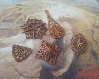 5 Vintage Gorgeous Filigree Old Brass Pendants Lot!