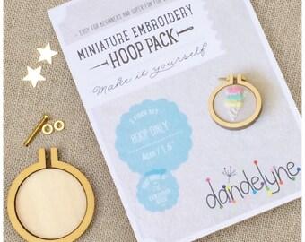 Miniture 4cm embroidery hoop, DIY kit.