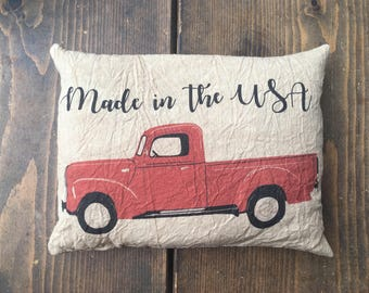 Made in the USA Red Truck accent pillow