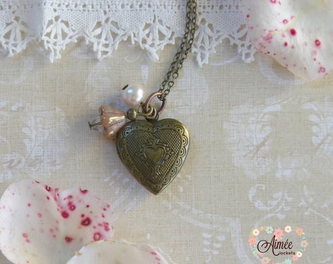 dangle heart locket, photo locket, memory locket, vintage locket, victorian locket, brass locket, antique bronze locket