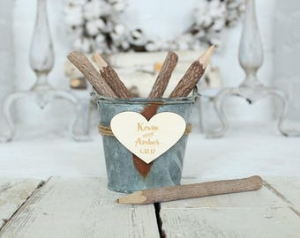 Rusted Metal Wedding Guestbook Pen Holder Rustic Wedding Farmhouse Style