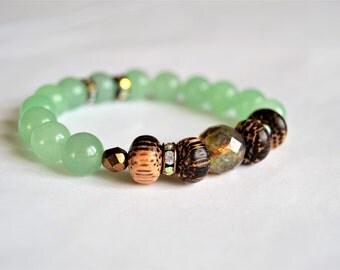 GREEN AVENTURINE Czech Glass Zebra Wood and Rhinestone Stretch Bracelet