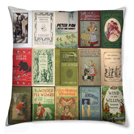 Fabric Book Cover Buy : Literary fabric childrens books cushion cover