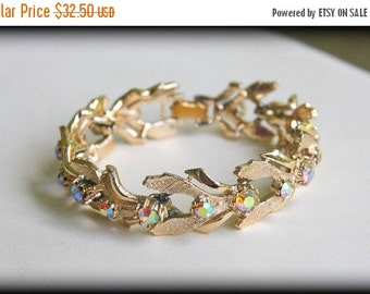 CYBER WEEK SALE Vintage Couture True Vintage 1950s Signed Art Gold Tone Aurora Borealis Rhinestone Bracelet