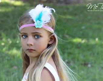 Vintage BoHo Bo Ho Pink Velvet Blue White Feather Headband Headdress Baby Child Girls