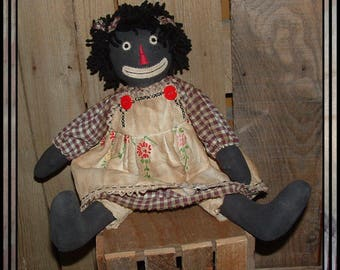 Primitive Folk Art hand embroidered black raggedy doll yarn hair HAFAIR OFG red buttons