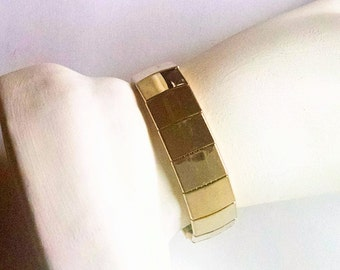 Link Bracelet Gold Tone Solid Links Cuff Bracelet Vintage Jewelry Jewellery Minimalist Christmas Gift Guide