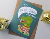 T-Rex Dinosaur Christmas Card, Festive Jumper Wearing Dinosaur Greetings Cards, Hand Lettered Childrens Card, Multi Pack Blank Cards