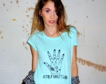 Mint BC PALMISTRY POTION Scoop Neck T Shirt - Available in sizes Extra Small // Small // Medium // Large // Extra Large