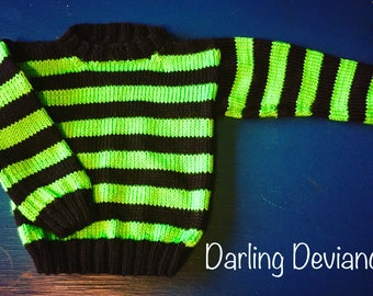 Neon Green and Black Stripes Toddler Sweater (24mon/2t)