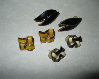 Vintage Pierced Earrings Lot Of 3
