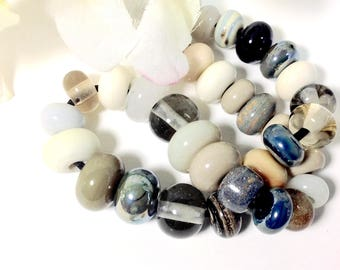 Destash Lampworked set of 35 earth-colored glass beads