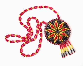 Vintage Native American Beadwork Beaded Rosette Necklace Yellow Black and Red Seed Beads Nine Pointed Star Traditional Handmade Jewelry Art