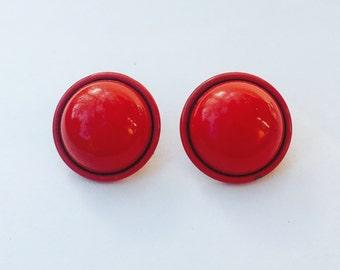 Large Red Metal Dot Studs