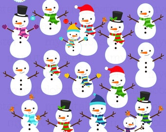 Snowmen Clipart Set - clip art set of snowmen, winter snowmen, christmas, holiday - personal use, small commercial use, instant download