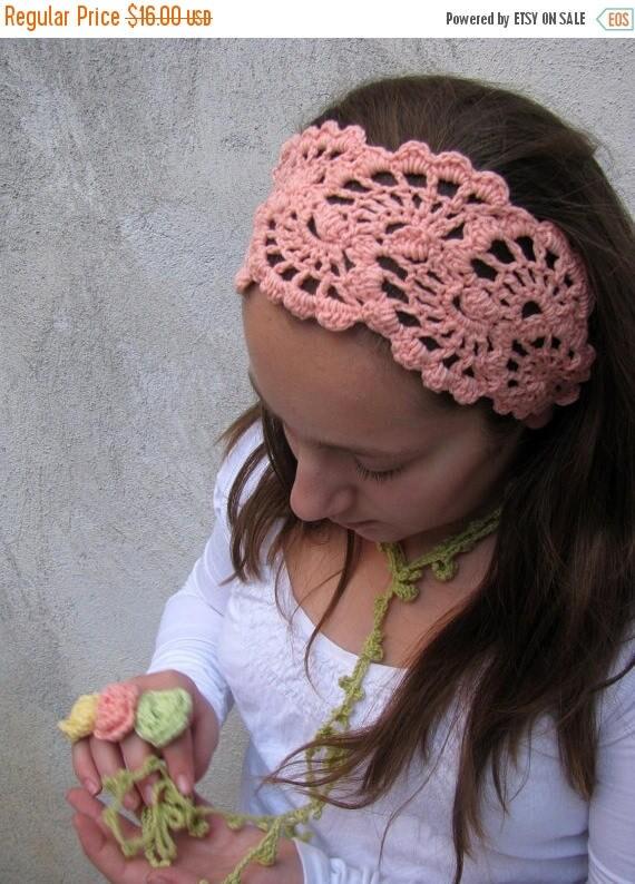 ON SALE 15 % SALE Crochet HeadBand - Hand Crochet Hairband - Women's Bandana - Crochet Hair Wrap -Hair Accessories