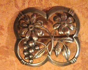 On Sale Antique Sterling Silver  Flowers Berries Anf Leaves Frame Brooch