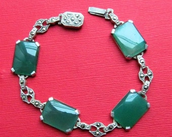 On Sale Art Deco Sterling Silver Chrysoprase Marcasite Bracelet Antique Jewelry Circa 1930
