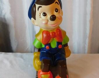 Vintage Hand Painted Bisque Porcelain Disney's Pinocchio Statue Figurine  box C