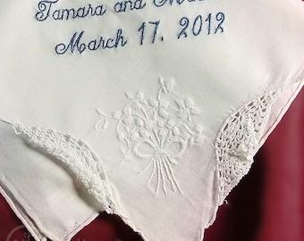 Mother of the Bride Wedding Handkerchief | Gift for Mom | Mother of the Bride Gift | Custom Made Wedding Handkerchief