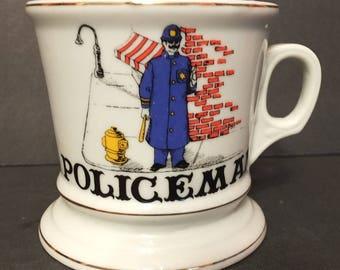 Vintage Knobler Policeman Shaving Mug Knobler Japan Occupational Mug