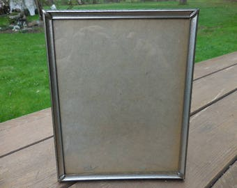 Vintage 1940s to 1950s Silver Tone Metal 8x10 Picture/Photo Flowered Frame Retro Self Standing Wall Hanging Verticle Only