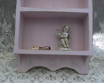 Shabby Country Cottage, Paris pink collectibles shelf, distressed, upcycled, recycled, salvaged